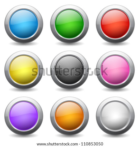 colored round buttons with wavy reflections - stock vector