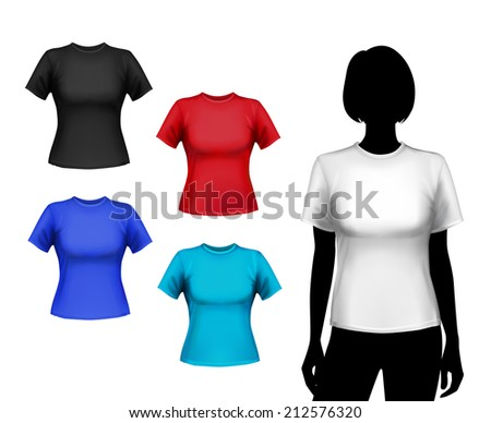 Colored round neck t-shirts female set with woman silhouette isolated vector illustration