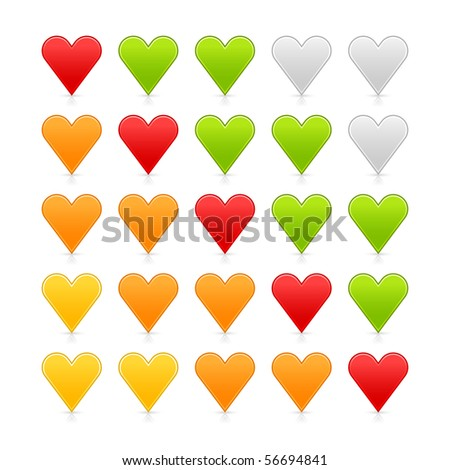 Colored satin heart ratings web button. Shapes with shadow and reflection on white background