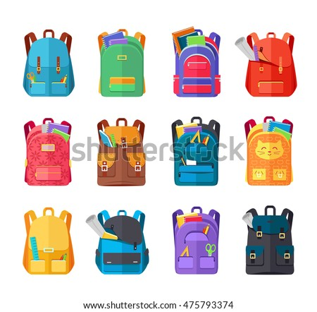 Colored school backpacks set. Backpacks with school supplies, notebooks, pencils, pens, rulers, scissors, paper. Education and study back to school, schoolbag luggage, rucksack vector illustration