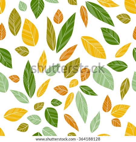 colored seamless leaves on white background. vector illustration - stock vector