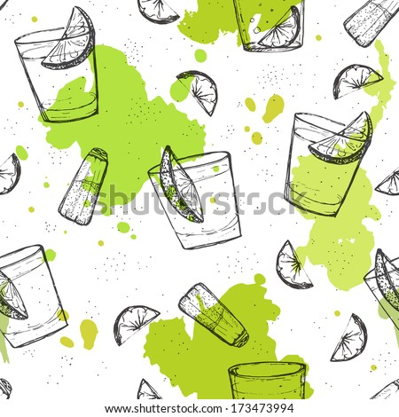 Colored seamless vector pattern of tequila shots with splashes of paint - stock vector