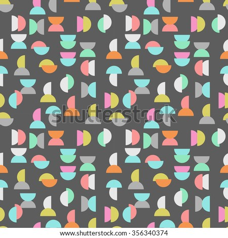 colored semicircle seamless pattern over gray, Vector - stock vector