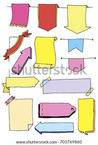 colored set cute hand drawn doodle stock vector royalty free