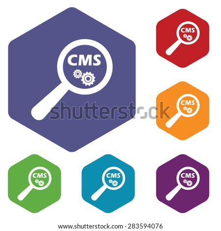 Colored Set Hexagon Icons Text Cms Stock Vector 283594076 Shutterstock