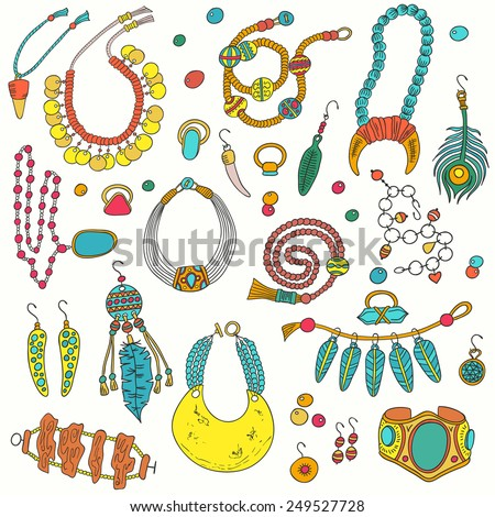 Colored set of jewelry items. Handmade accessories - ring, necklace, earrings, cufflinks, brooch and bracelets. - stock vector