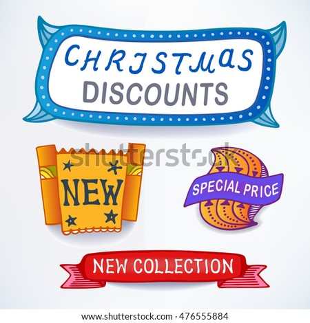Colored set of promotional sales english text labels, signs, stickers.