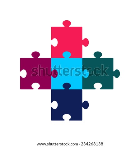 Colored set of puzzles. Business concept. Idea. Text template - stock vector