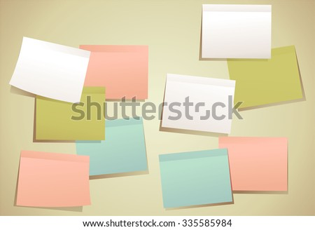Colored set of sticky notes - stock vector