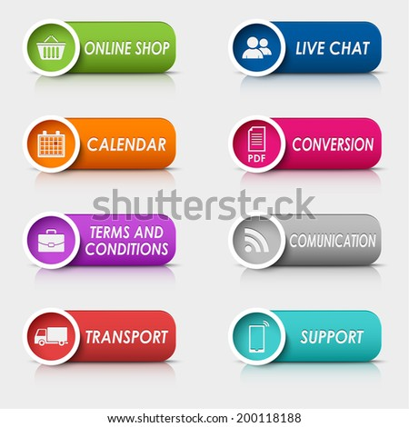 Colored set rectangular buttons web design