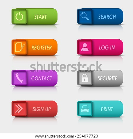 Colored set rectangular square web buttons design