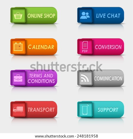 Colored set rectangular web buttons template