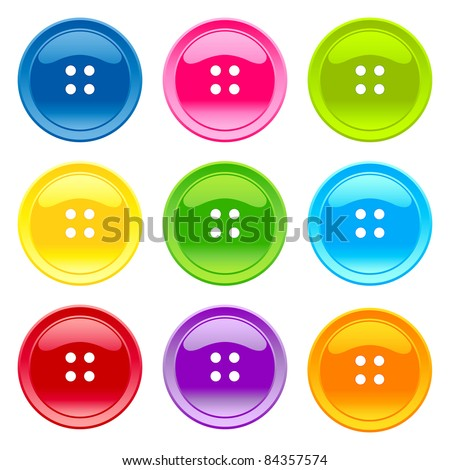 Colored sewing button collection - stock vector