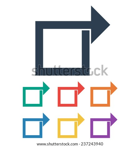 Colored Share Arrow Icon Set. Vector Illustration - stock vector