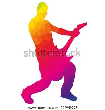 Colored silhouette of the musician low poly style. - stock vector