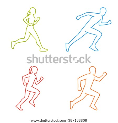 Colored silhouettes of runners. Line vector figures marathoner. - stock vector