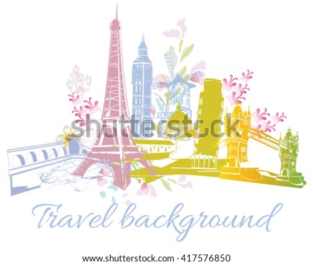 Colored silhouettes of sights in Europe. - stock vector