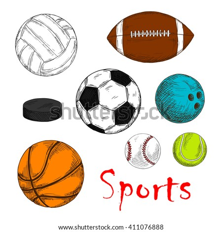Colored sketch of sport items for team games with ice hockey pucks and balls for soccer or football, baseball, rugby, volleyball, basketball and bowling
