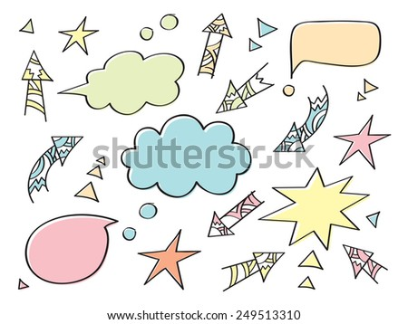 Colored speech bubbles and arrows. Set of elements. Hand drawing. Doodles, sketch, design elements. Vector. - stock vector