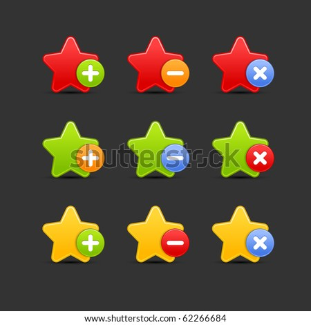 Colored star favorite icon web 2.0 button with shadow on gray background. 10 eps - stock vector