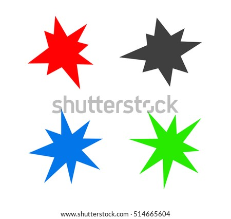 colored starburst splash star icon set