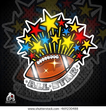 Colored stars fly out from american football ball. Sport logo for all star game