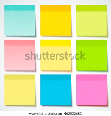 Colored sticky note with paper texture, vector illustration.
