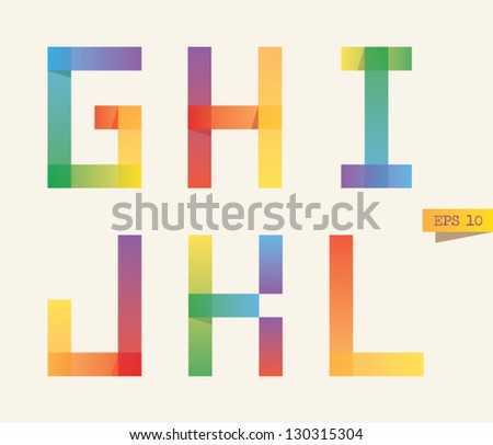 Colored sticky notes alphabet with rainbow colors. G, H, I, J, K, L letters. Gradient version. - stock vector