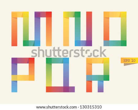 Colored sticky notes alphabet with rainbow colors. M, N, O, P, Q, R letters. Gradient version. - stock vector