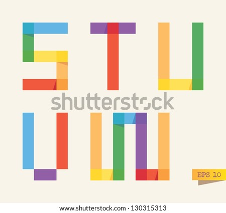 Colored sticky notes alphabet with rainbow colors. S, T, U, V, W letters.