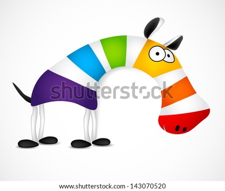 Colored striped zebra. Vector - stock vector
