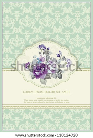 Colored Stylish vintage Vector wedding frame. Beautiful abstract floral background. Retro decor illustration.