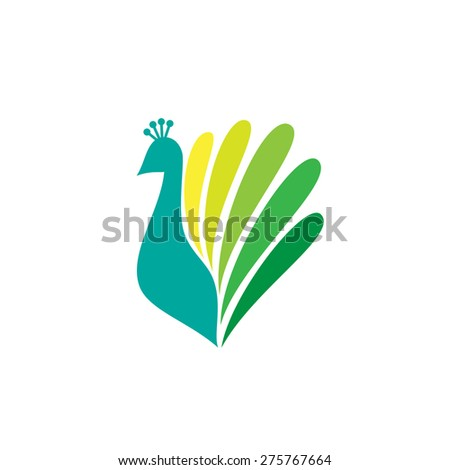 Colored stylized silhouette of a peacock on a white background. Logo design for company. - stock vector