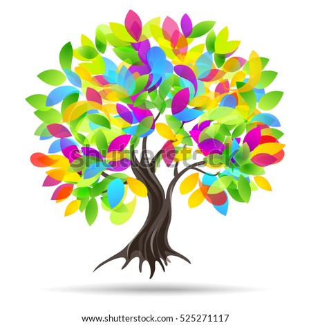 Colored tree. Vector illustration.