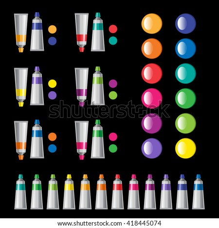 Colored tubes of paint.  Artistic tools background. Back to school vector illustration. Colorful stains. Color harmony. Spectrum.