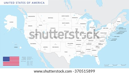 Colored United States Map Names Capitals Stock Vector - Map of the us with capitals