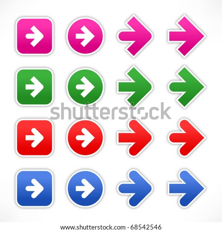 Colored variations arrow sign web 2.0 stickers with shadow on white - stock vector
