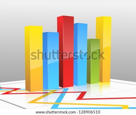 Colored vector bar graph - stock vector