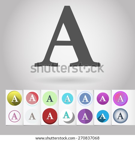 """Colored vector flat """"A"""" letter, formatting text sign circle icon and buttons set. Design elements on paper styled background - stock vector"""