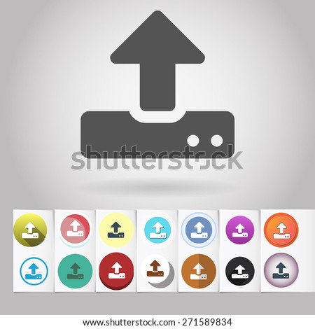 Colored vector flat modem or storage upload circle icon and buttons set. Design elements on paper styled background - stock vector