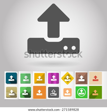 Colored vector flat modem or storage upload square icon and buttons set. Design elements on paper styled background - stock vector