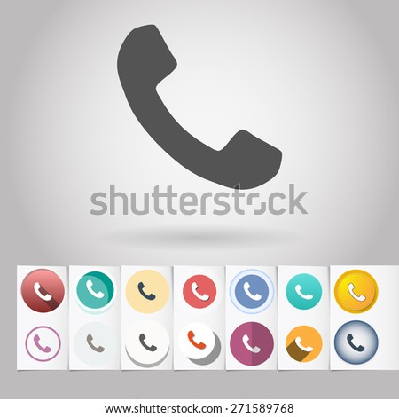 Colored vector flat phone circle icon and buttons set. Design elements on paper styled background - stock vector