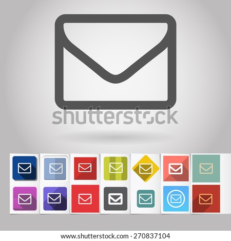 Colored vector flat sms message square icon and buttons set. Design elements on paper styled background - stock vector