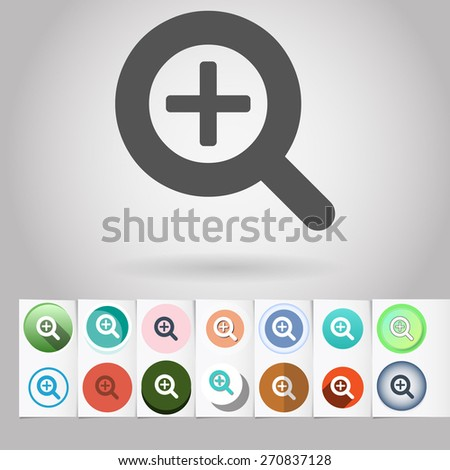 Colored vector flat Zoom loupe cursor circle icon and buttons set. Design elements on paper styled background - stock vector