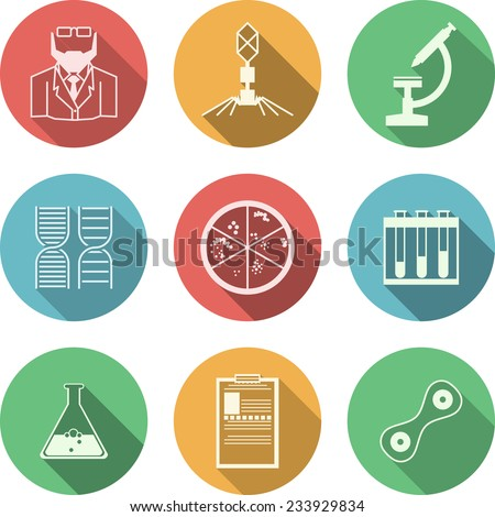 Colored vector icons for bacteriology. Set of colored circle vector icons with black silhouette symbols for bacteriology on white background. - stock vector