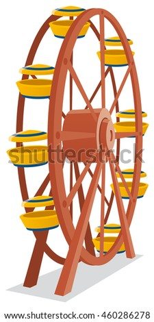colored vector illustration of a ferris wheel