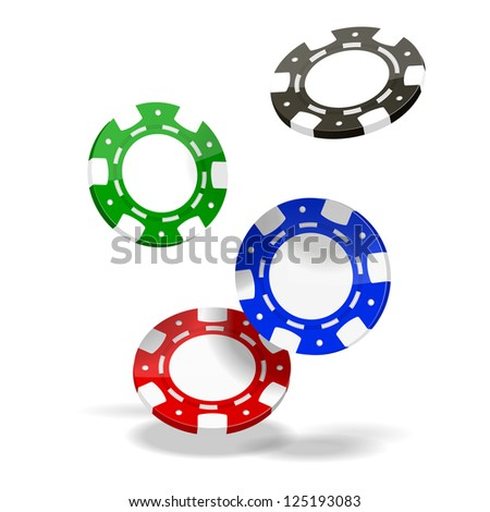 Colored Vector Poker Chips isolated on white background