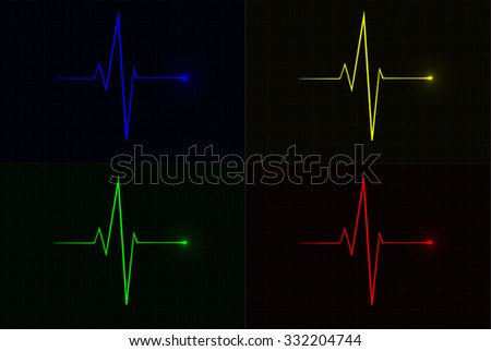 Colored vector pulse icons over cardiogram grid, hospital related vector icons - stock vector