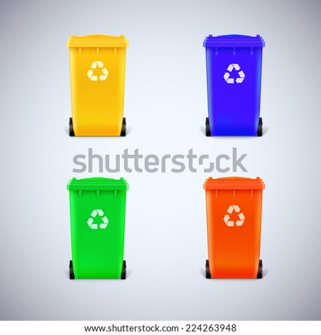 Colored waste bins with the lid closed. Ecological trash set, isolated - stock vector