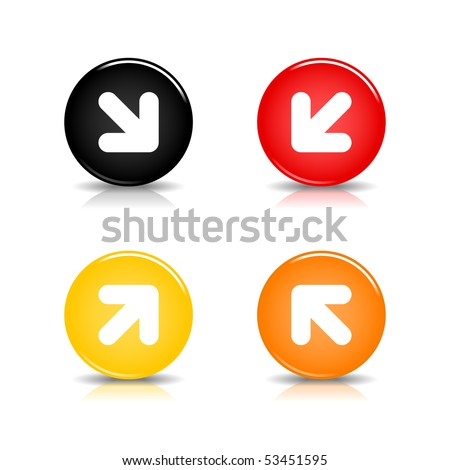 Colored web button with arrow sign. Glossy round shape with shadow and reflection. White background - stock vector